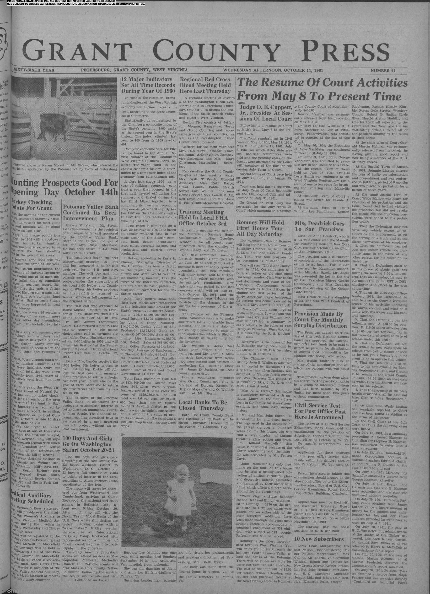 Grant County Press October 11, 1961: Page 1